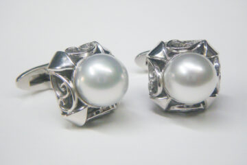真珠カフスセット